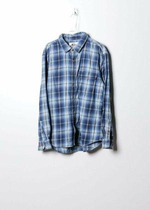 Vintage Unisex Flanellhemd in Blau