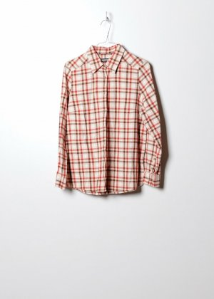 Vintage Unisex Flanellhemd in Orange