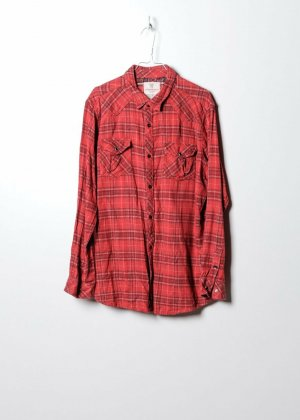 Vintage Unisex Flanellhemd in Rot