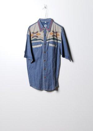 Vintage Unisex Jeanshemd in Blau