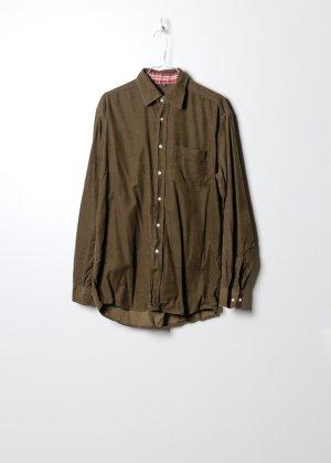 Vintage Unisex Kordhemd in Grün