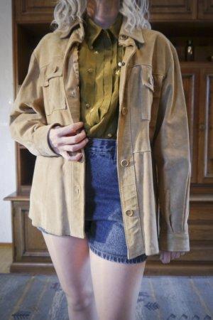 Vintage Velour Damen Jacke Beige Echtleder Retro Used-look M L