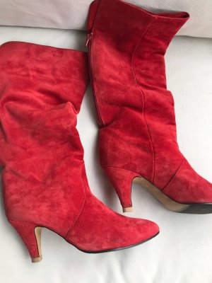 Vintage Velourleder Velour Stiefel rot 5 1/2 38 39