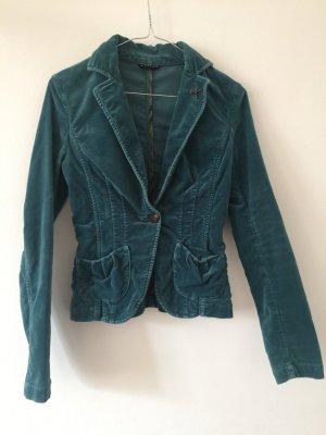 Vintage Velvet Blazer Sisley Slim Fit XS petrol blau Samt