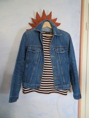 Vintage verwaschen Mustang Oversize Jeans Jacke Solid Trucker Jacket Blau Denim S M L usedlook