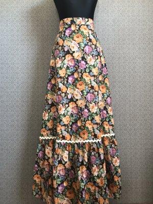 Vintage Volantrock maxi 70s floral Cotton