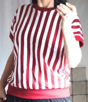 Vintage vor 2000, Pulli gestreift, rot / etwas gedecktes rot, weiß/wollweiß, taillenkurz, Passe Rippstrick, Fledermausärmel mit Bündchen Abschluss, überschnittene Ärmel, Acryl, Strick, weich gestrickt, Ripp Bündchen, Retro, TOP Zustand, Gr. M