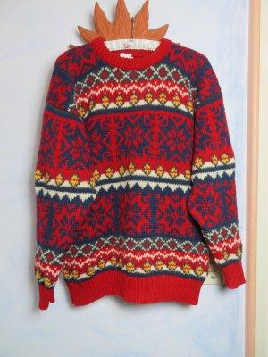 Vintage warmer Wollpullover 100% Island Wolle M L XL weicher Anthrazit Orange Norweger Unisex Muster Pulli