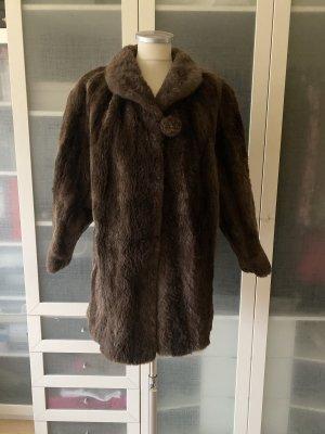 Vintage Love Manteau de fourrure brun foncé