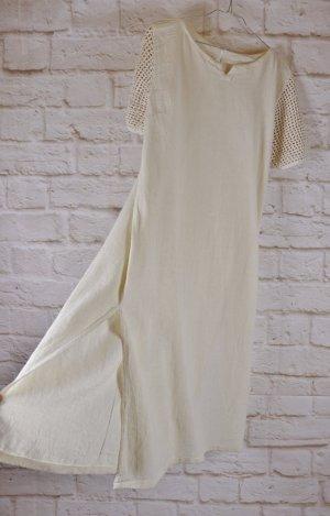 Vintage Kaftan w kolorze białej wełny-jasnobeżowy