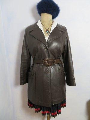 Vintage weicher Nappa Ledermantel aus England Gr. 40 Dunkelbraun