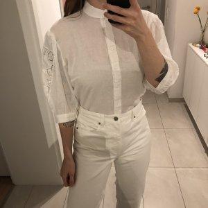 Vintage weiße Bluse mit Stehkragen Puffärmel