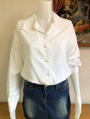 Vintage Weiße Spitzen Hemd-Bluse Gr.38