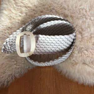 Cinturón trenzado blanco Cuero