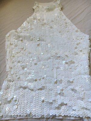 Vintage: Weißes Strick Top mit Pailletten