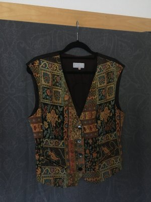 Vintage Fringed Vest dark brown-light orange mixture fibre