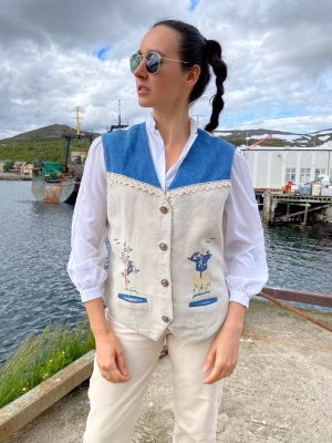True Vintage Traditional Vest natural white-cornflower blue