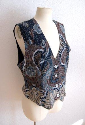 Vintage Smanicato lavorato a maglia blu scuro-marrone chiaro