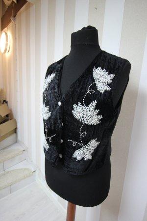 Chaleco de punto negro-blanco