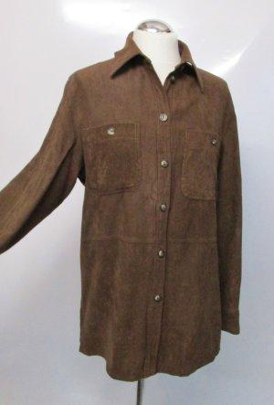 Vintage Western Wildlederimitat Bluse Größe M 38 Braun dunkelbraun Retro Velours Hemd Viskose
