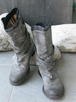 Western Boots anthracite-dark grey leather