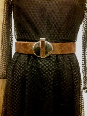 Leather Belt brown-silver-colored