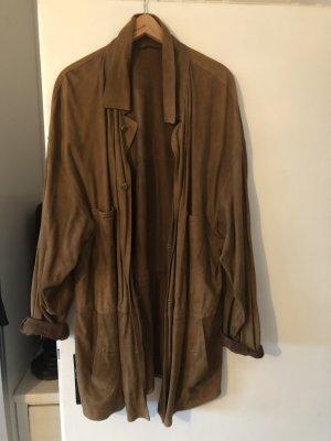 Cappotto in pelle marrone-marrone chiaro