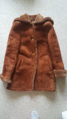 Abrigo de cuero rojo amarronado Cuero