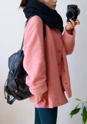 Vintage Wintermantel rosa, oversized Wollmantel rosé, pastell bonbon preppy