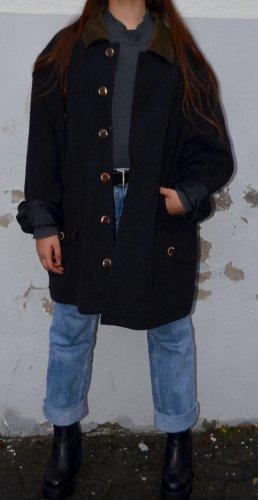 Vintage Abrigo de lana gris antracita-gris verdoso Lana