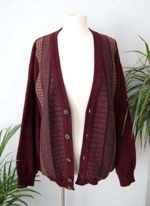 Vintage Wollcardigan bordeaux 90er, oversized Strickcardigan Muster, blogger alternative