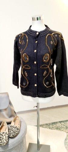 Vintage Wełniany sweter czarny-złoto