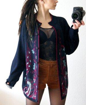 Vintage Wollcardigan Paisley, dunkelblaue oversized Jacke pink Wolle, boho festival blogger