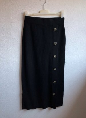 Massimo Dutti Knitted Skirt black wool