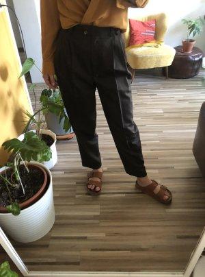 Vintage Pantalone a pieghe marrone scuro Lana