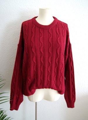 Vintage Wollpullover bordeaux, chunky Strickpullover oversized, 80er 90er