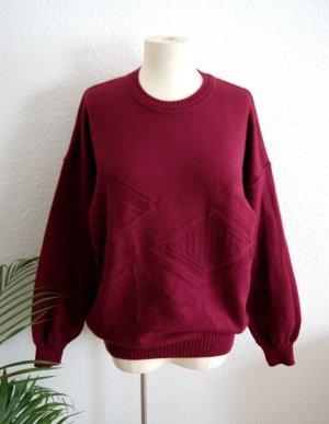 Vintage Wollpullover bordeaux, oversized Pullover grafisch, 90er