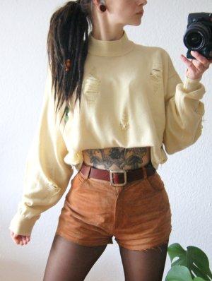 Vintage Wollpullover gelb, oversized Pullover Seide Kaschmir destroyed, grunge alternative y2k