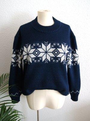 Vintage Wollpullover Norweger, dicker Strickpullover dunkelblau, 80er 90er