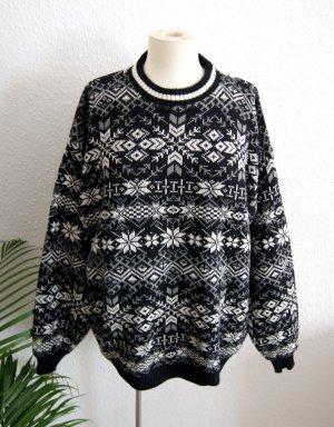 Vintage Wollpullover Norweger, oversized Strickpullover s/w, 80er 90er