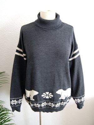 Vintage Wollpullover Norweger, oversized Wollpullover Eisbär, 80er 90er