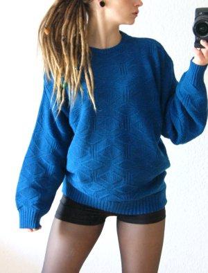 Vintage Wollpullover petrolblau, oversized Pullover Strickmuster, blogger alternative festival
