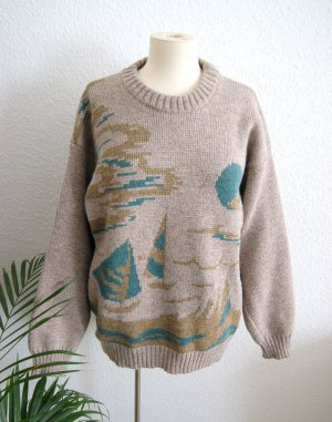 Vintage Wollpullover Segel/Strand beige, chunky oversized Strickpullover, 80er 90er