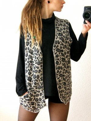 Vintage Wollweste Leopardenmuster, oversized Strickweste Seidenanteil Animalprint, 80er grunge