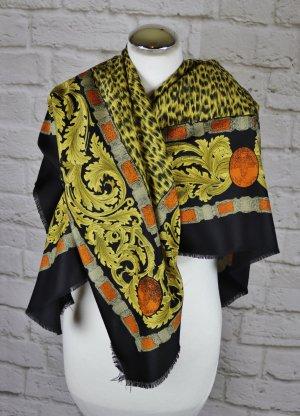 Vintage XXL Care` Tuch Schal Leopard Tiger Royal Schwarz Gelb Beige Muster Schultertuch Granny