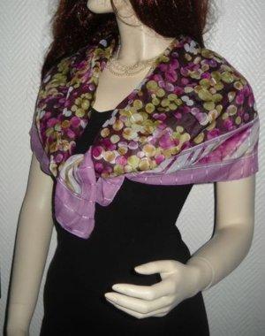 Vintage XXL Schal Tuch h m flieder lila Punkte Polka Dots Blumen Blümchen Flower