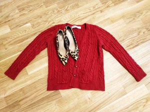 Zara Pull en laine rouge foncé-rouge carmin