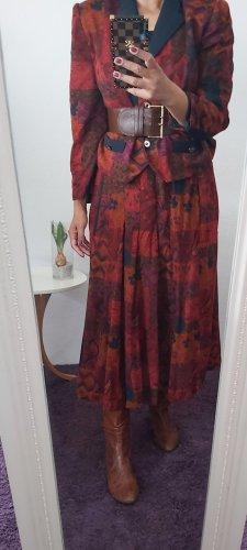 Vintage Tailleur rouge foncé-bleu foncé