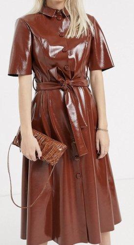 ASOS DESIGN Leren jurk roodbruin Gemengd weefsel