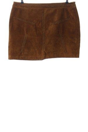 Violeta by Mango Jupe en cuir brun style décontracté